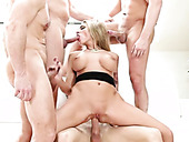Long Legged Tattooed Super Hot Blonde Filth Works On Four Massive Cocks